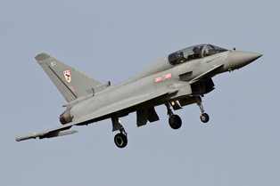 RAF Typhoon T3 ZJ801 coming into land